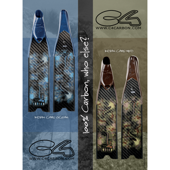 C4 - Indian Camo Med Fins Blades Only (Pair)